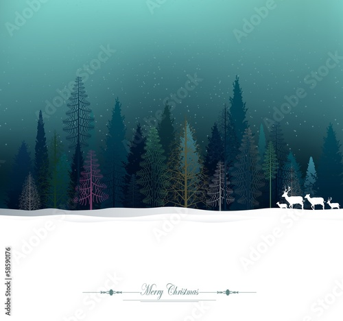 christmas background with deer and pine forest