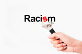 Solve racism issue concept poster