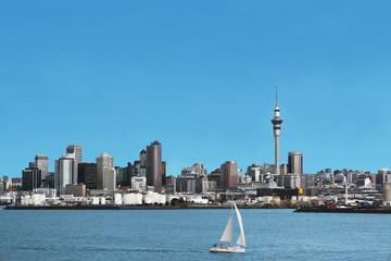 Auckland City Skyline and Harbour with Skytower, in New Zealand