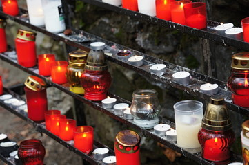 Candles and burners in Marianka, Slovakia