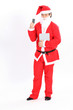 Isolated santa claus show card and carry tablet on overwhite bac
