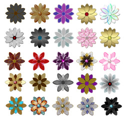 Set of beautiful  glass flowers illustration.