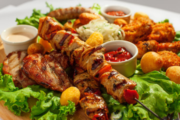 Grilled meat on sticks (shashlyk)