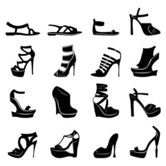 Set of various stylish models of women footwear