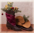 Cowboy clothes with Christmas objects