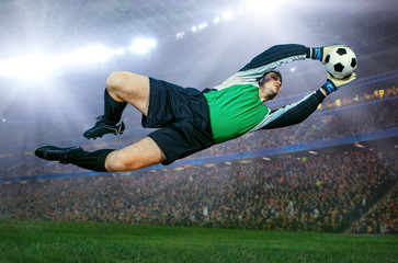Football goalkeeper in action on field of stadium