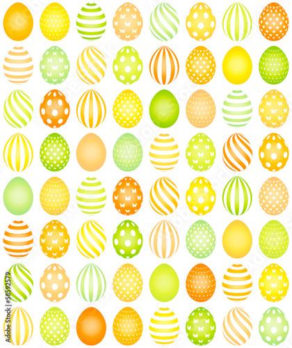 64 Easter Eggs Pattern Yellow/Orange/Green