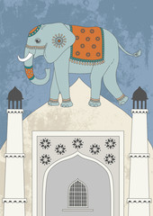 Decorated indian elephant and dome