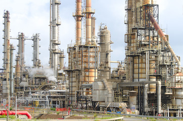 Oil refinery plant with lot of pipes.
