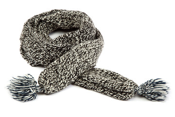 Cold winter clothing. Wool scarf.