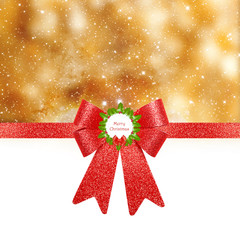 Christmas background - red bow on golden background