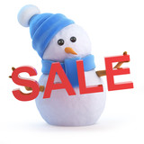 Blue snowman at the Sales