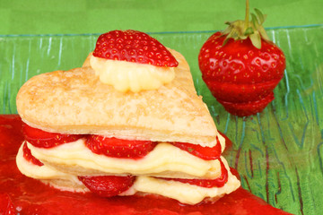 Heart shaped strawberry and custard millefeuille