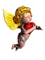 little Cupid angel embracing a love heart
