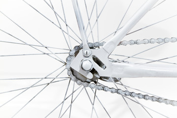Close-up fragment of white vintage bicycle wheel
