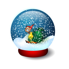 Illustration Glass Ball With Snow