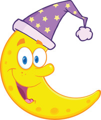 Smiling Cute Moon With Sleeping Hat Cartoon Mascot Character