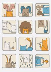Set of Cats - Zodiac Symbols