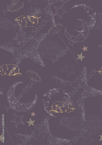 Seamless Pattern with Stars and Sleeping Deers