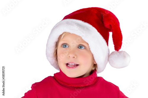 Cute little girl with Santa hat