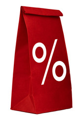 Red paper shopping bag with percentage sign isolated on white
