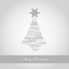 Silver greeting card with Christmas tree