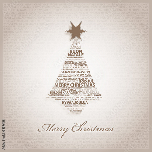 Brown greeting card with Christmas tree