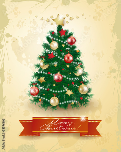 Christmas tree on vintage background
