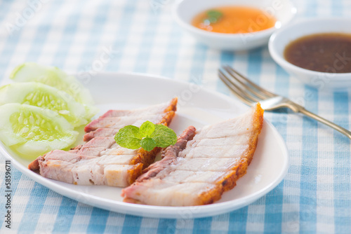 Siu Yuk - Chinese roasted pork served with soy and hoisin sauce.