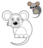 Cartoon animal - coloring page with preview