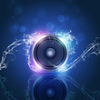 Music Speaker Blue Background