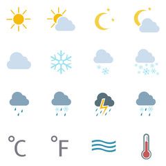 vector set of 16 color weather icons