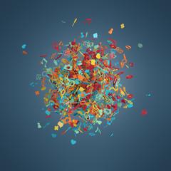Social network symbols abstract
