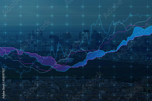 Stock market graph (city background) Blue color