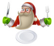 Santa Eating Christmas Dinner Food