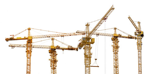 group of five hoisting cranes on white