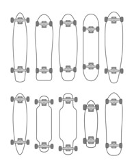 Collection of various shaped skateboards and longboards