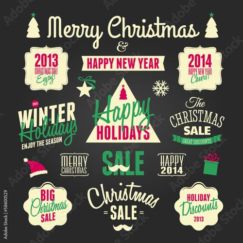 Chalkboard Christmas Design Elements