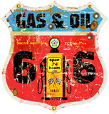 vintage route 66 gas sign, retro style, vector illustration
