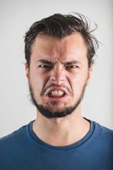 young stylish man angry