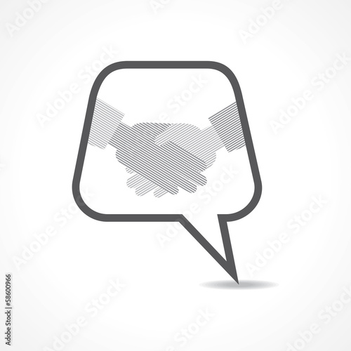 Businessman handshake background with message bubble