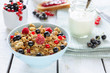 Muesli with berries and milk