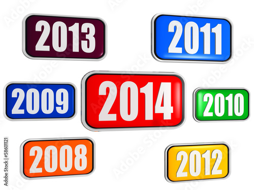 new year 2014 and previous years in colored banners