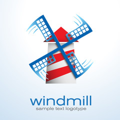Vector Logo windmill, wind energy