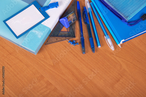 Blue set of office accessories