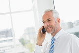 Smiling mature businessman using mobile phone in office