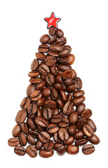 Christmas tree made of coffee beans.