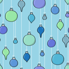 Seamless background tile with hanging cartoon baubles design.