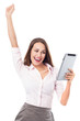 Happy woman holding digital tablet