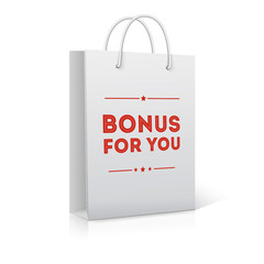 Bonus for you, shopping bag,  vector illustration